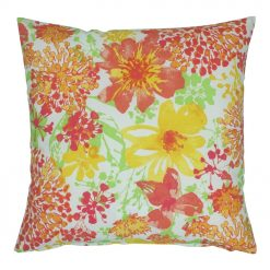 Square cushion with floral design