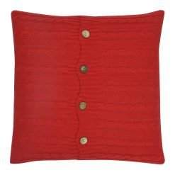 Square Red Cable Knit Cushion Cover 50x50cm With Buttons