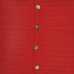 Closeup Image of Square Red Cable Knit Cushion Cover 50x50cm With Buttons