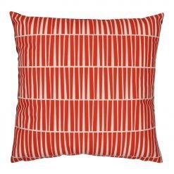 Square red and white modern velvet cushion cover