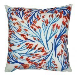 45x45cm velvet cushion blue and orange nature print