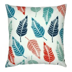 Square multi-coloured velvet cushion with leaf print