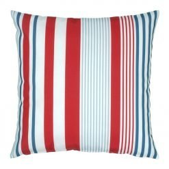 Outdoor cushion with red, white and blue stripes design