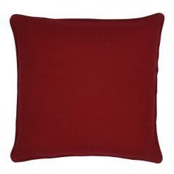 Image of square maroon cushion cover made of polyester fabric