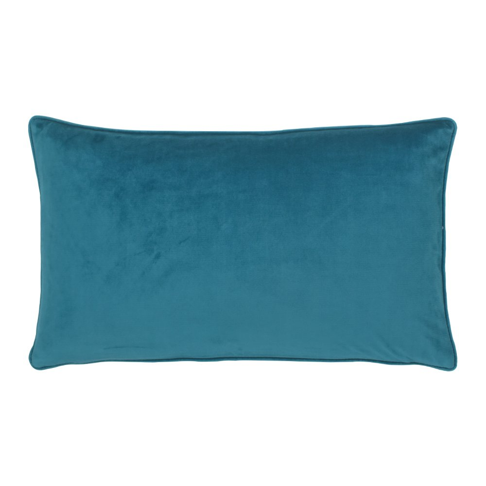 rectangular velvet cushion cover in teal colour