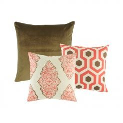 Two patterned cushion cover in red and brown, and one cushion cover in plain red