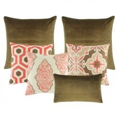 3 multi patterned cushion in red , brown and white. two brown cushion and one brown rectangular cushion.