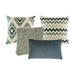 a chevron cushion cover, one cream and grey cushion cover , a grey fur cushion, and one grey rectangular cushion