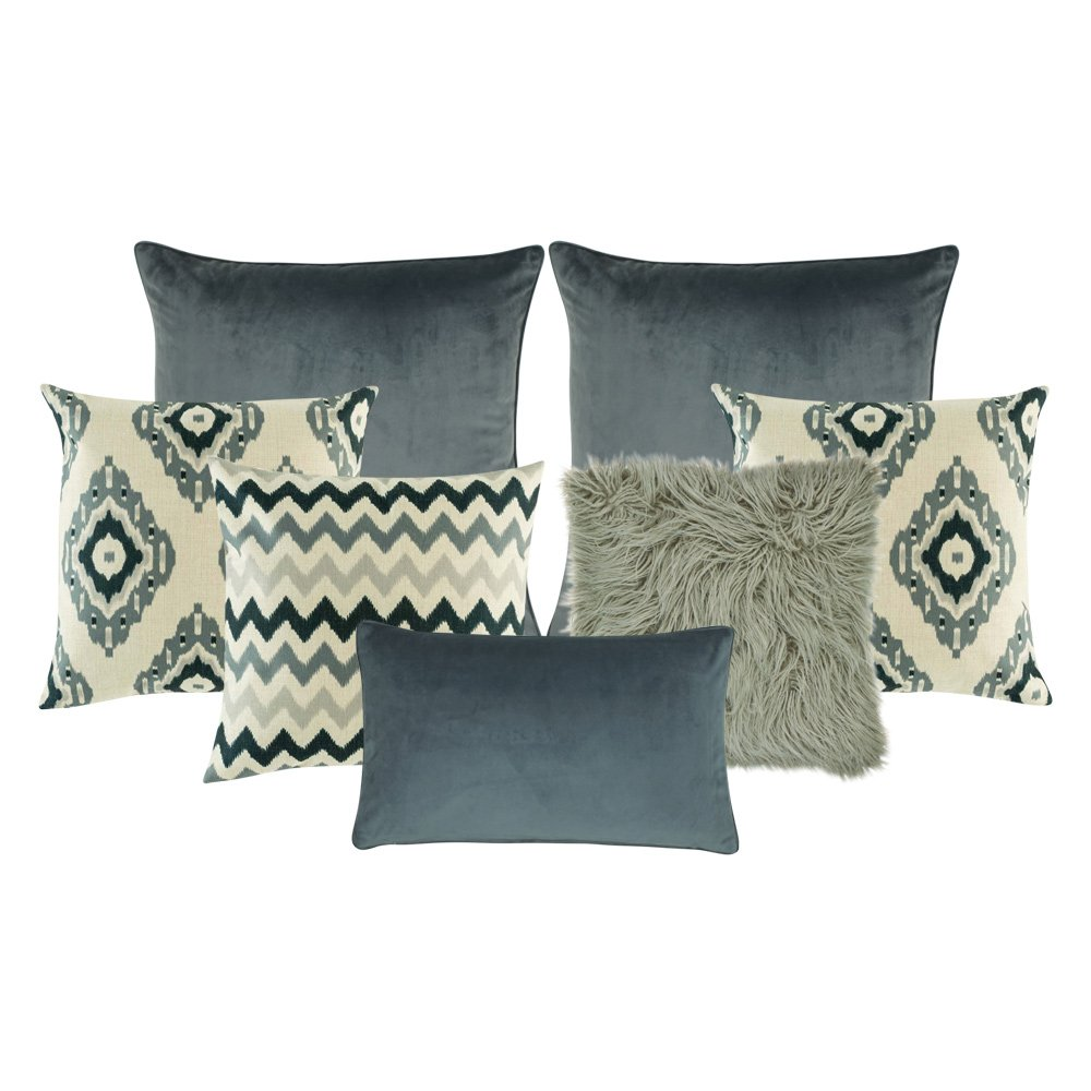 one plain rectangular cushion in grey, a cushion with zigzag pattern, a chevron cushion, one plain grey cushion cover, a pair of cream and grey cushion with diagonal patterns, a grey fur cushion