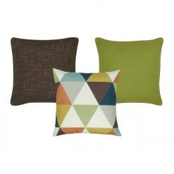 plain brown cushion, plain lime green cushion and a patterned cushion with triangles