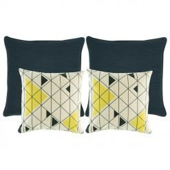 A set of 4 square cushions in blue and white colours with triangle patterns