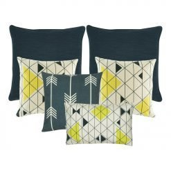 A set of 6 square and rectangular cushion covers with arrow and diamond patterns