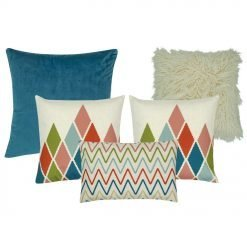 A mix of 5 rectangular and square cushion covers with diamond and chevron patterns
