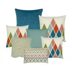 Blue cushion cover collection of 7 with zigzag and diamond patterns