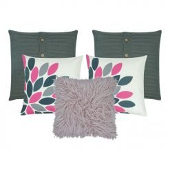 A set of 5 cushion covers in grey, white and pink colours