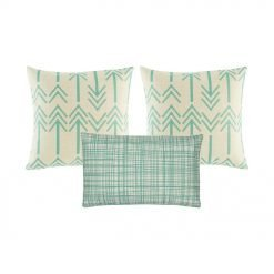 Set of 3 cushions with teal colour and arrow patterns