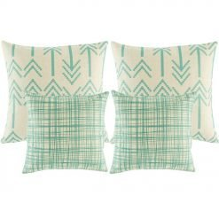 A set of 4 cushion covers with teal lines and arrow patterns