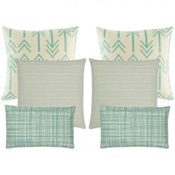 A collection of 6 cushion covers with arrow and line patterns in teal and neutral colours