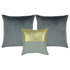 A pair of grey cushion cover and one gold and grey cushion cover