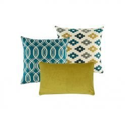 A mix of 3 square and rectangular cushions in blue and yellow olours and with diamond, solid and spiral patterns