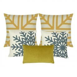 a pair of gold and white cushion cover, a pair of blue and white cushion cover with snowflake design and a rectangular cushion cover in gold.