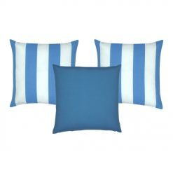 A mix of 3 blue-coloured outdoor cushion covers in solid and stripe designs