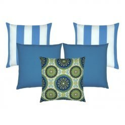 A set of 5 blue-coloured outdoor cushion covers in stripe, solid and moroccan designs
