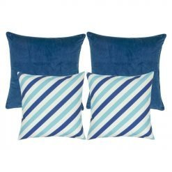 2 plain blue cushion cover and 2 blue and white patterned cushion cover