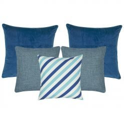2 cushion cover in dark blue, 2 cushion covers in grey and 1 patterned blue and white cushion cover