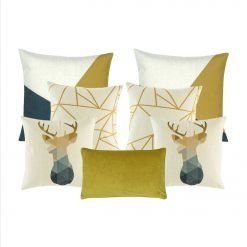 a pair of moose printed square cushion, a pair of gold and white with linear design cushion, a pair of grey, gold and white printed cushion and one rectangular cushion.