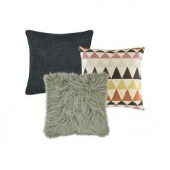 A plain grey cushion , a patterned cushion , and one grey fur cushion.