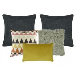 A set of 5 cushion covers with yellow and grey tones and triangle patterns