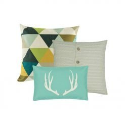 A set of three teal tone rectangular and square cushions in cable knit and cotton material.