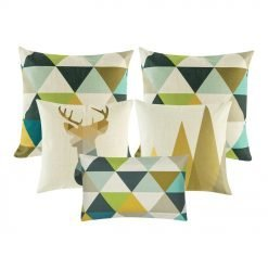 1 moose printed square cushion, two patterned cushion in gold, black and grey, and one rectangular cushion with triangular design