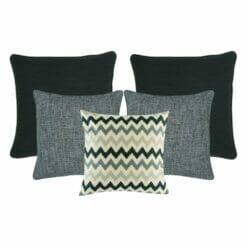 2 cushion in dark grey, 2 cushion in light grey and 1 patterned grey cushion