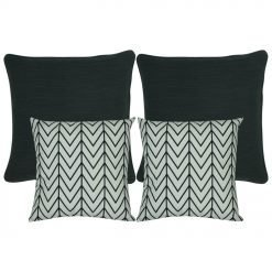a pair of plain black cushion and and a pair of black and white cushion with chevron pattern