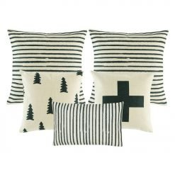 one rectangular cushion cover, one black and white with big cross cushion cover, one pine tree printed cushion, two cushion with black and white stripes