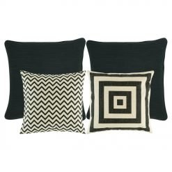 two pieces of plain black cushion, one chevron patterned cushion, and and one black and white cushion with square designs