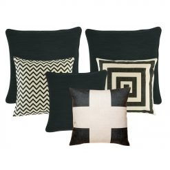 Three pieces of plain black cushion cover, a chevron patterned cushion cover, one black and white cross cushion cover and one black and white cushion cover with square designs