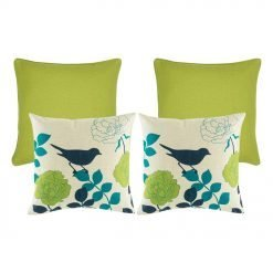 A set of Lime coloured cushion cover, adn a set of teal and lime bird inspired cushion cover