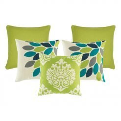 A set of 5 lime coloured square cushions