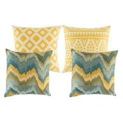A set of 4 square cushion covers with diamond and abstract in gold yellow and blue colours
