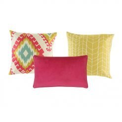 A set of 3 cushion covers with yellow and fuchsia colours