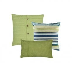 A set of 3 green, square and rectangular cushion covers in cable knit, line and solid patterns