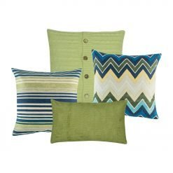 A set of 4 green and blue cushions in square and rectangular shapes with cable knit, lines, chevron and solid patterns