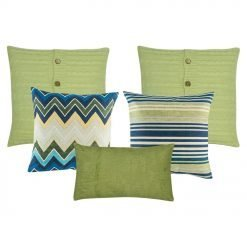 A set of 5 green and blue cushions in square and rectangular shapes with cable knit, lines, chevron and solid patterns