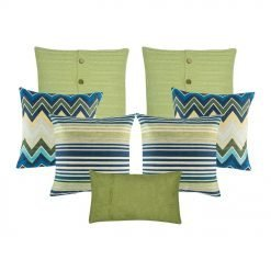A collection of 7 green and blue , square and rectangular cushions with cable knit, lines, chevron and solid patterns