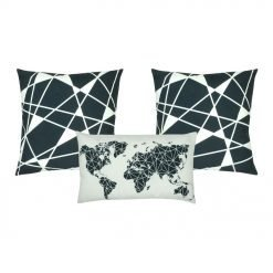 two black and white cushion cover with linear design and a rectangular cushion cover with map design