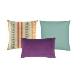 A mix of purple and multi-colored cushions in square and rectangular shapes