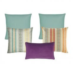 A collection of 6 square and rectangular cushions in purple, teal and multi-colored
